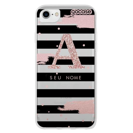 Capinha para celular Glam Stripes Inicial Glitter