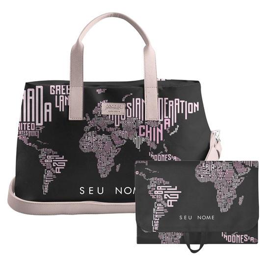 Kit Mapa Mundi Nomes Black (Bolsa de Viagem Joy + Necessaire Trip)