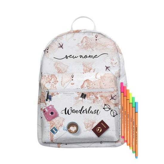 Mochila Gocase Bag Personalizada - World Trip Manuscrita