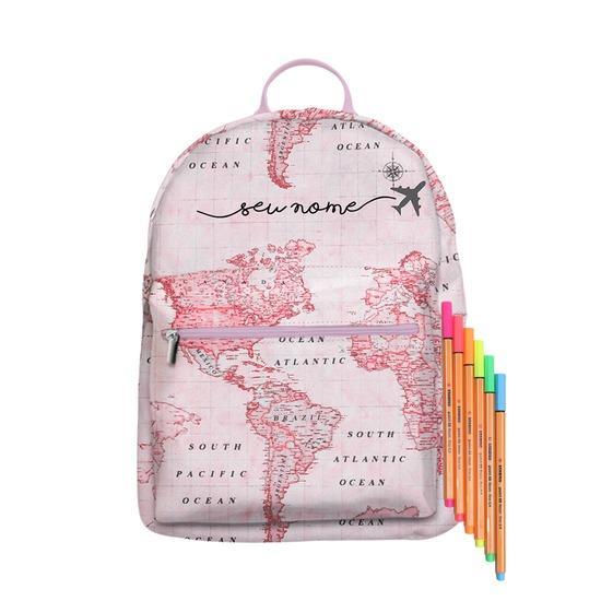 Mochila Gocase Bag Personalizada - Mapa Mundi Rosa Manuscrita