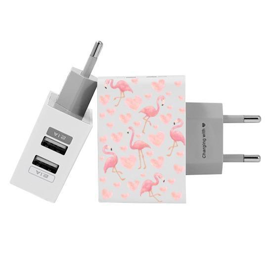 Carregador Personalizado iPhone/Android Duplo USB de Parede Gocase - Flamingos