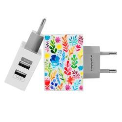 Customized Dual Usb Wall Charger for iPhone and Android - Multicolor