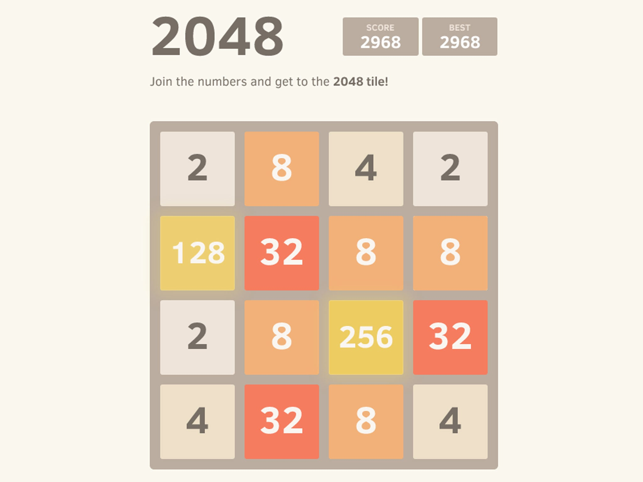 2048 Game Snapshot.