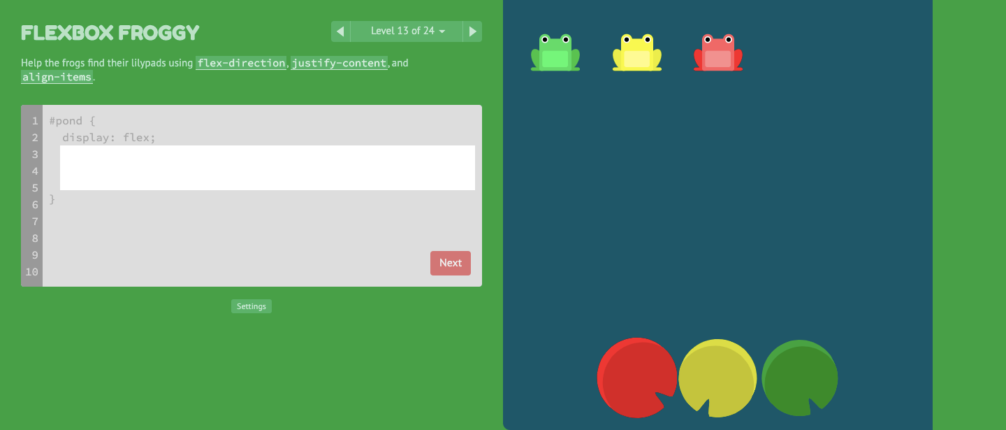 FlexBox Froggy Game Snapshot.