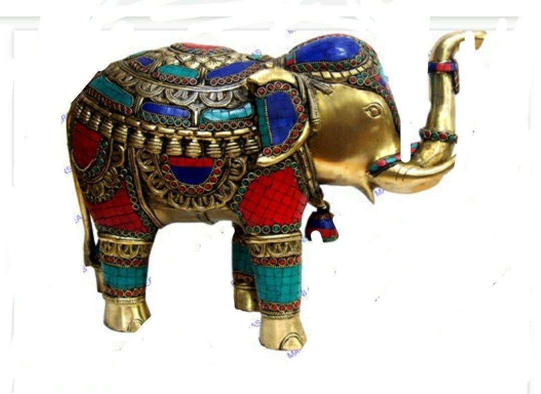 Elephant statue brass with stone work  handwork brass elephant 8×5  inches