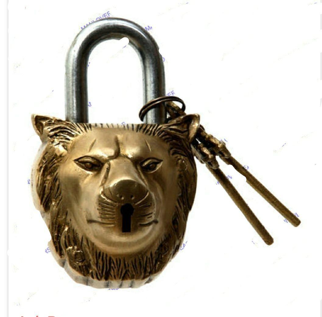 Lock brass lock lion mouth brass lock and keys