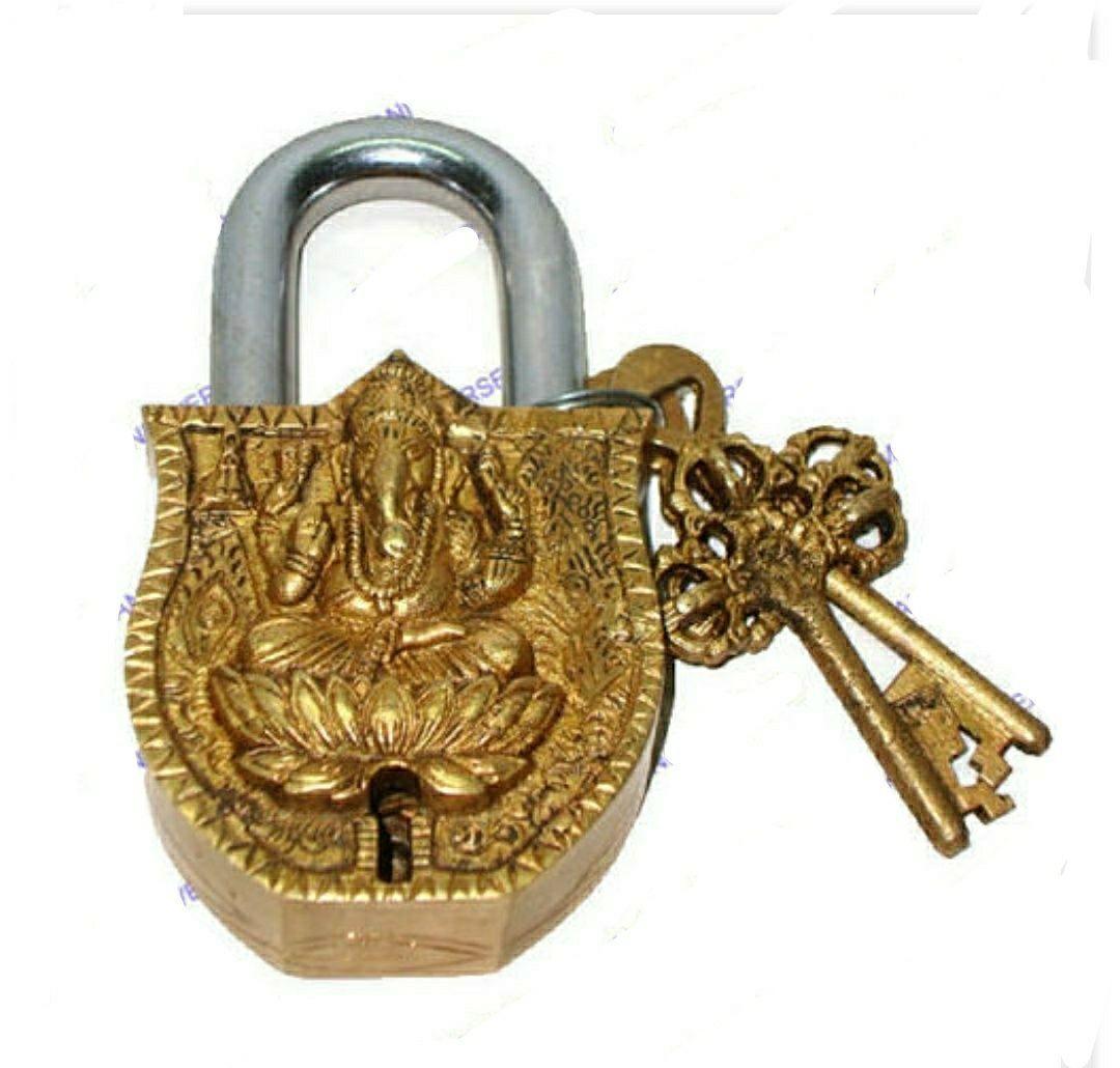 Lock Brass lock ganesh carved brass lock ganesh brass lock