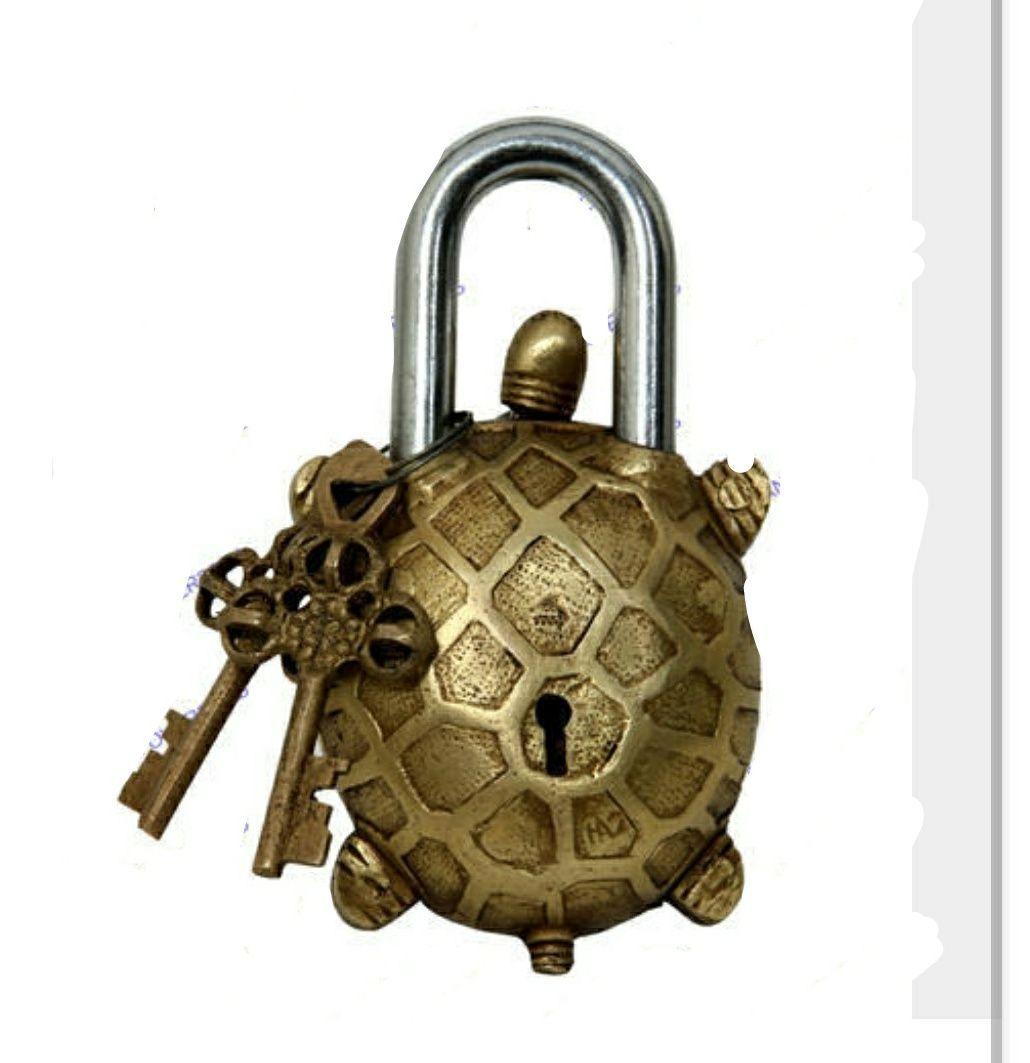 Brass lock turtle shape tortoise lock in brass