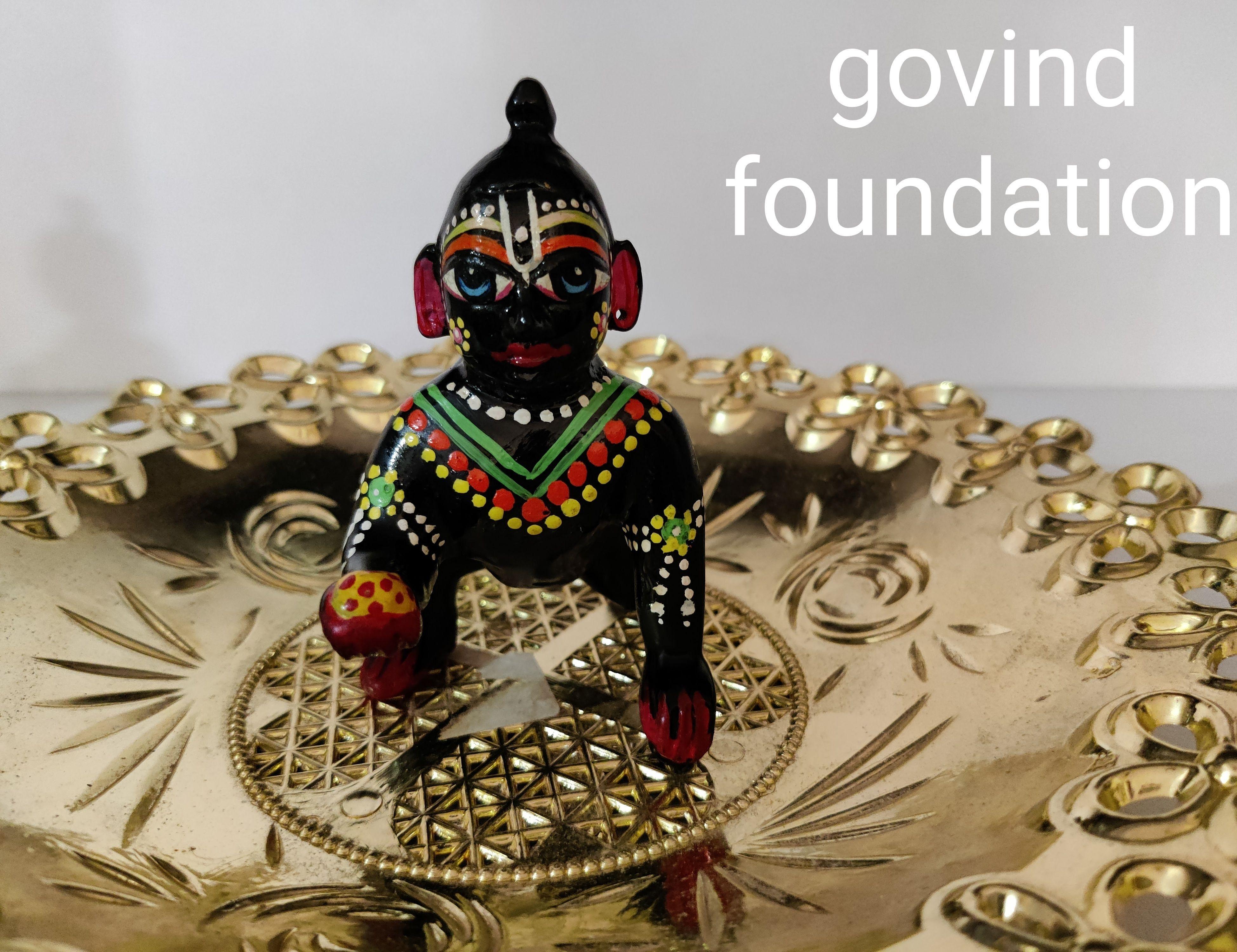 Laddu gopal ashtdhatu black painted laddu gopal idol 5 number