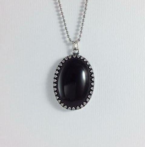 Black onyx pendant black onyx Silver pendant
