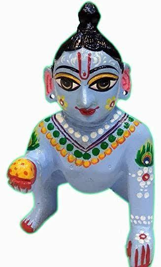Laddu gopal ashtdhatu blue colour ashtdhatu laddu gopal painted blue 5 number