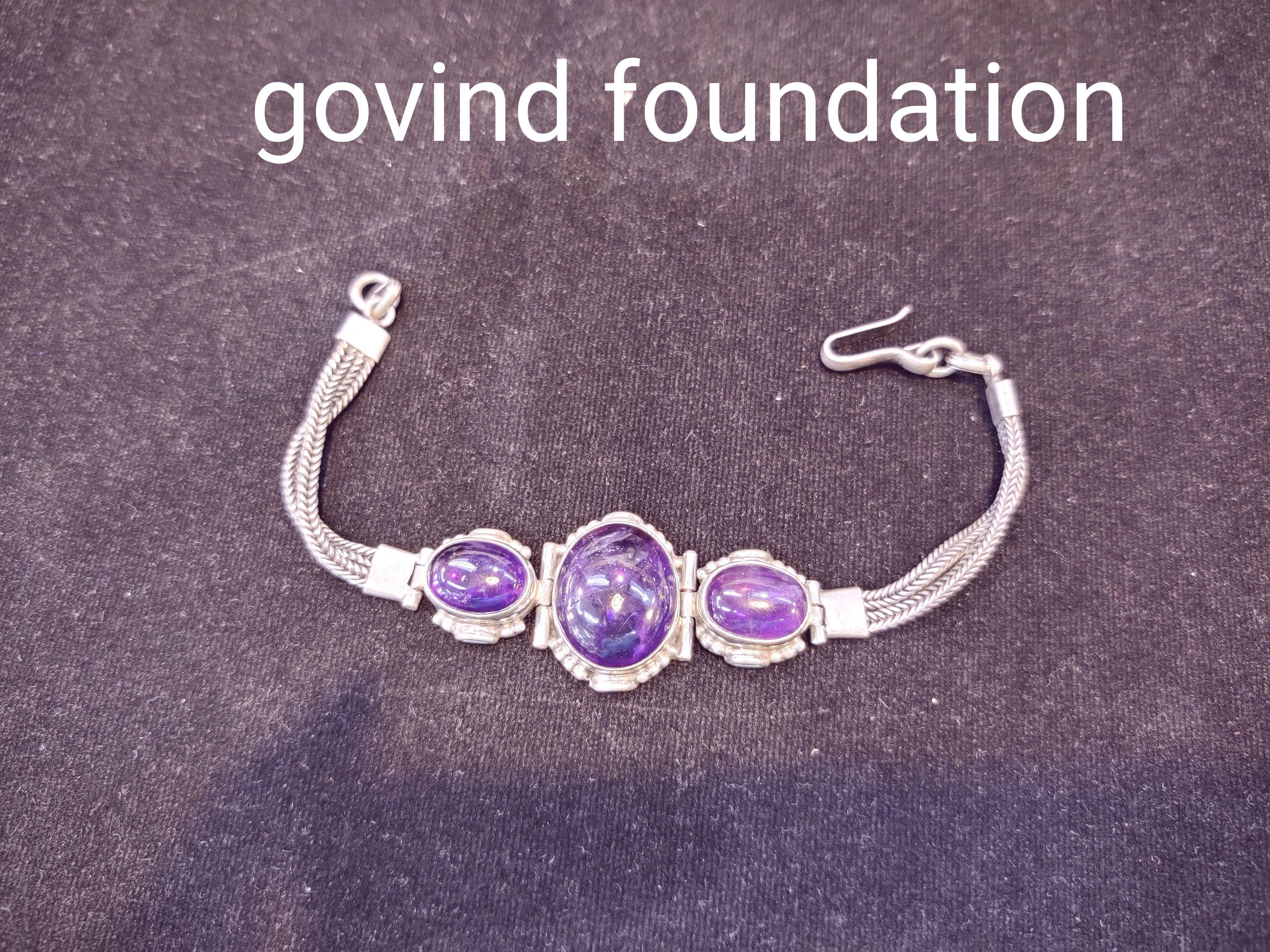 Amythest silver bracelet amythest bracelet in silver chain