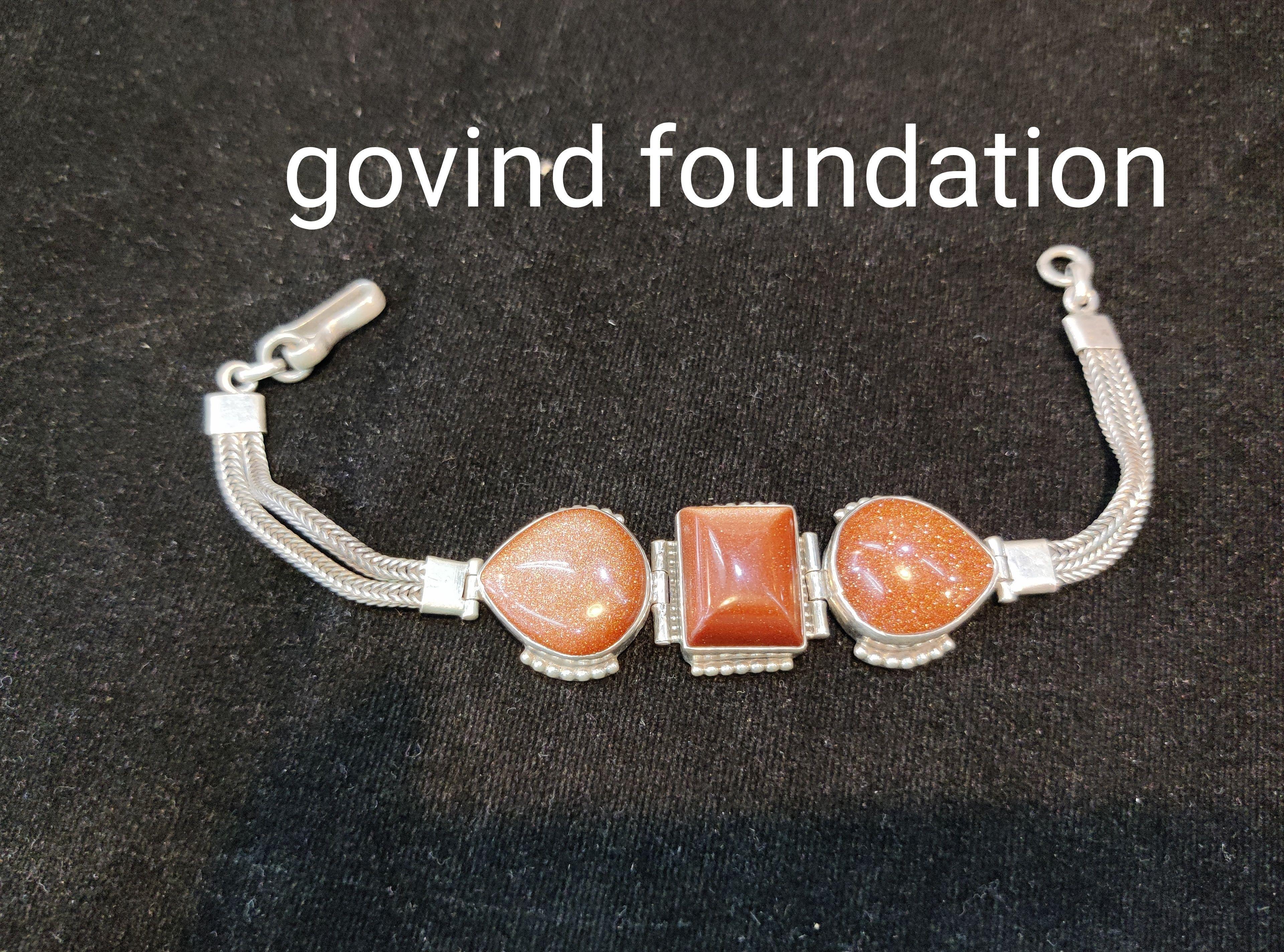 Sunstone silver bracelet sunstone bracelet in silver chain