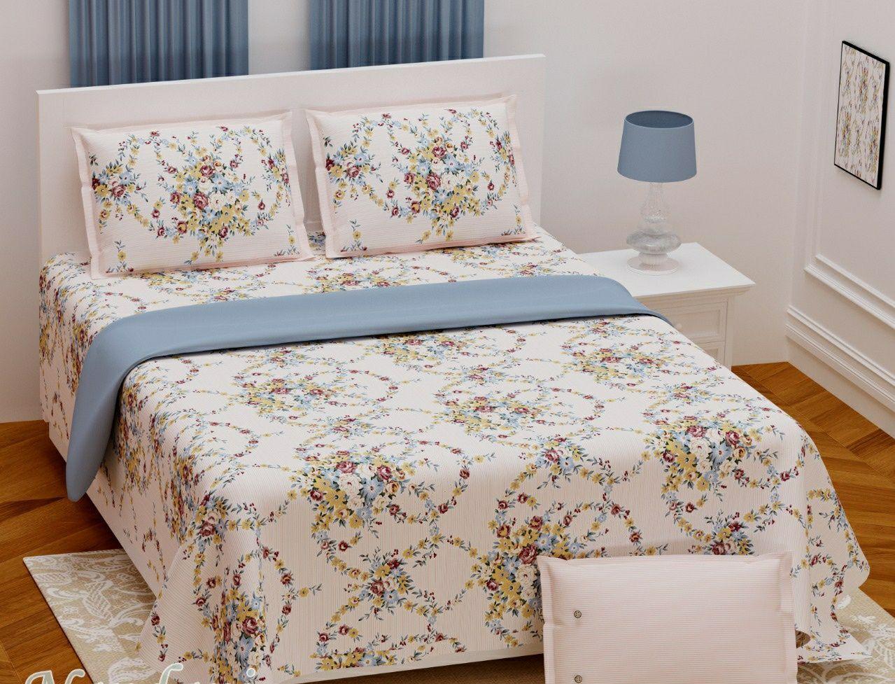 Bedsheet cotton double bed king size 108×108 Nandini milki