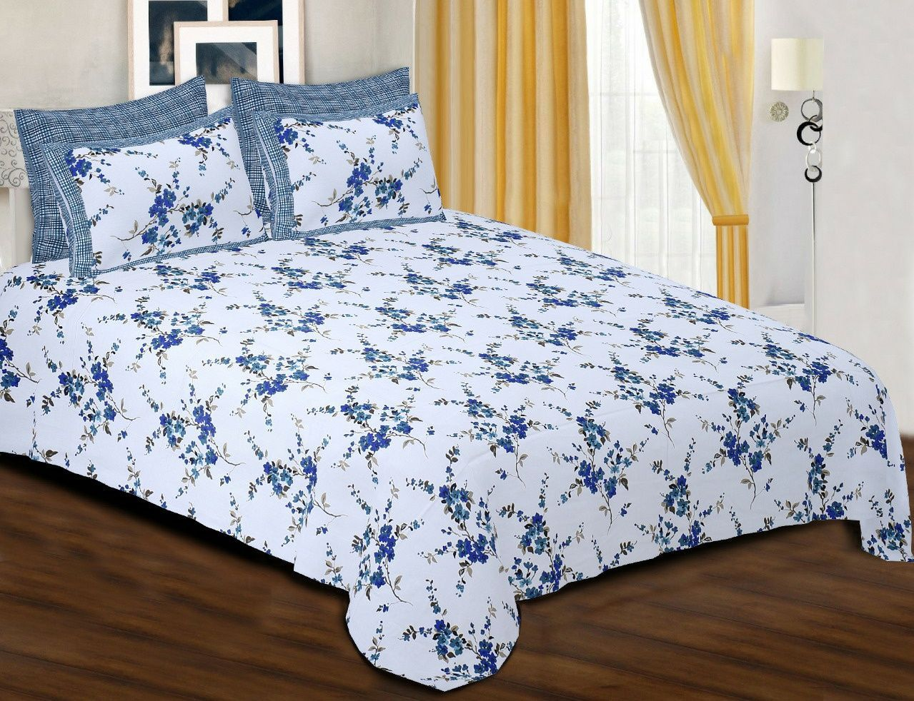 Bedsheet cotton double bed floral Padmini white blue 108×100 inches