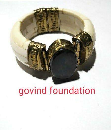 Bone kada with black agate stone camel bone bangle with stone