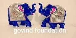 Metal elephant sculpture with pearl work blue set of 2