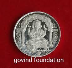 Silver ganesh coin pure silver coin 5 gm