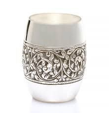 Silver glass pure silver glass with antique design 4 .5 inches silver tumbler Matka shape