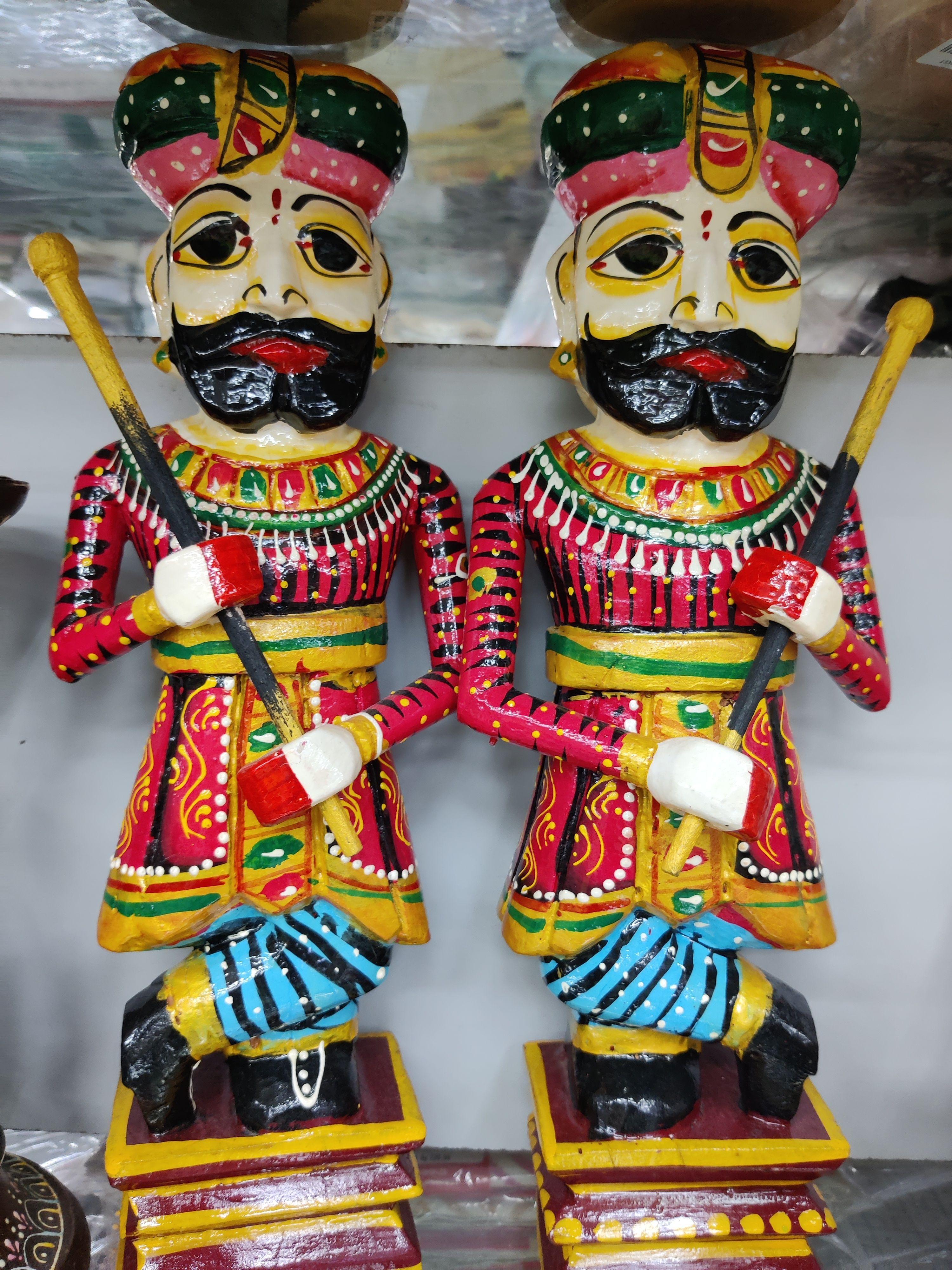 Rajasthani man figuring showpiece wooden painted Rajasthani chowkidar figuring set of 2