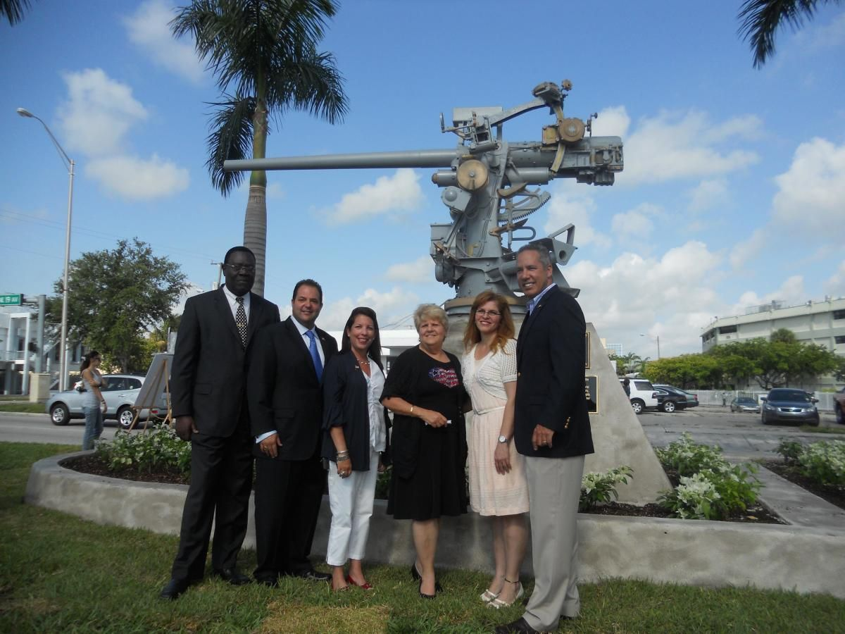 NMB Mayor George Vallego and City Council Members at restored gunmount.