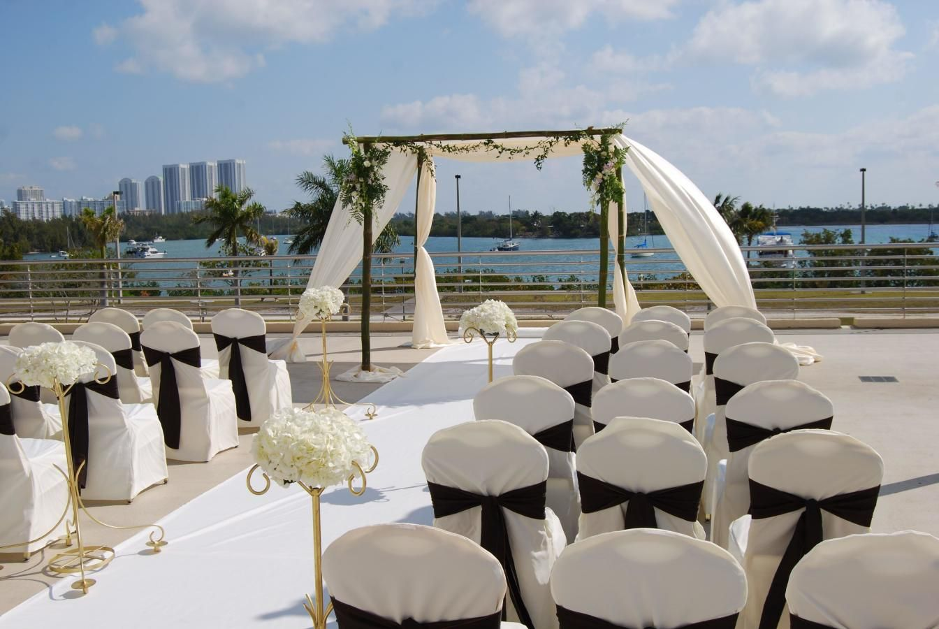 Waterfront Wedding Ceremony looking over Biscayne Bay