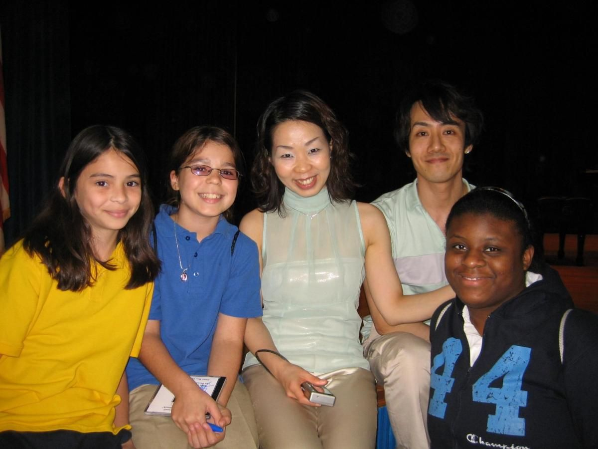 Yoshie & Takasi - Dranoff Laureates  with students during Piano Slam