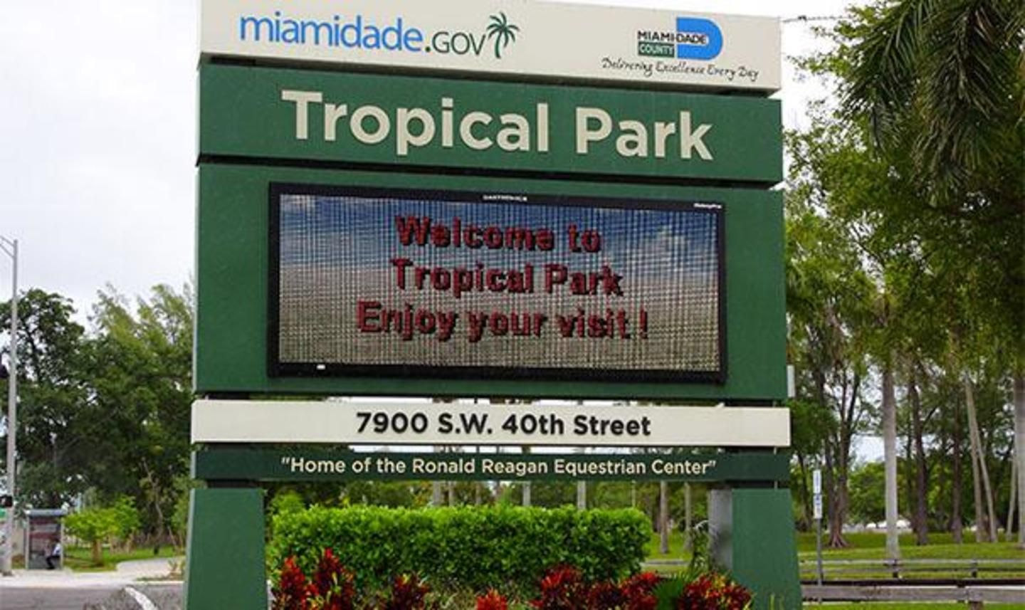 Tropical Park Entrance sign