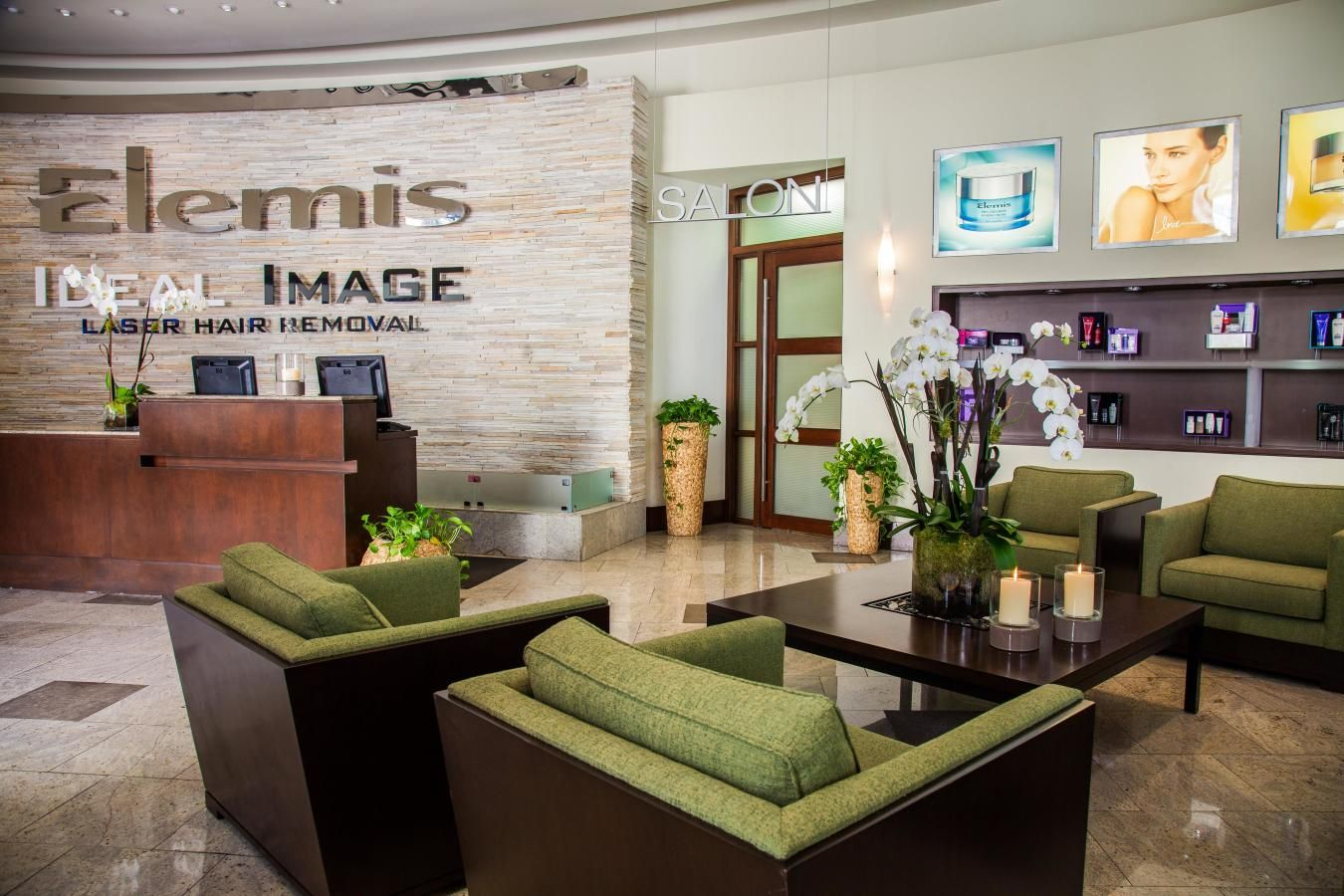 Reception at Elemis Day Spa, Merrick Park.