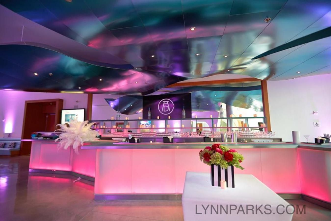 Atrium Featuring Frank Gehry Designed Luminescent Bar _ Pink Photo by Lynn Parks