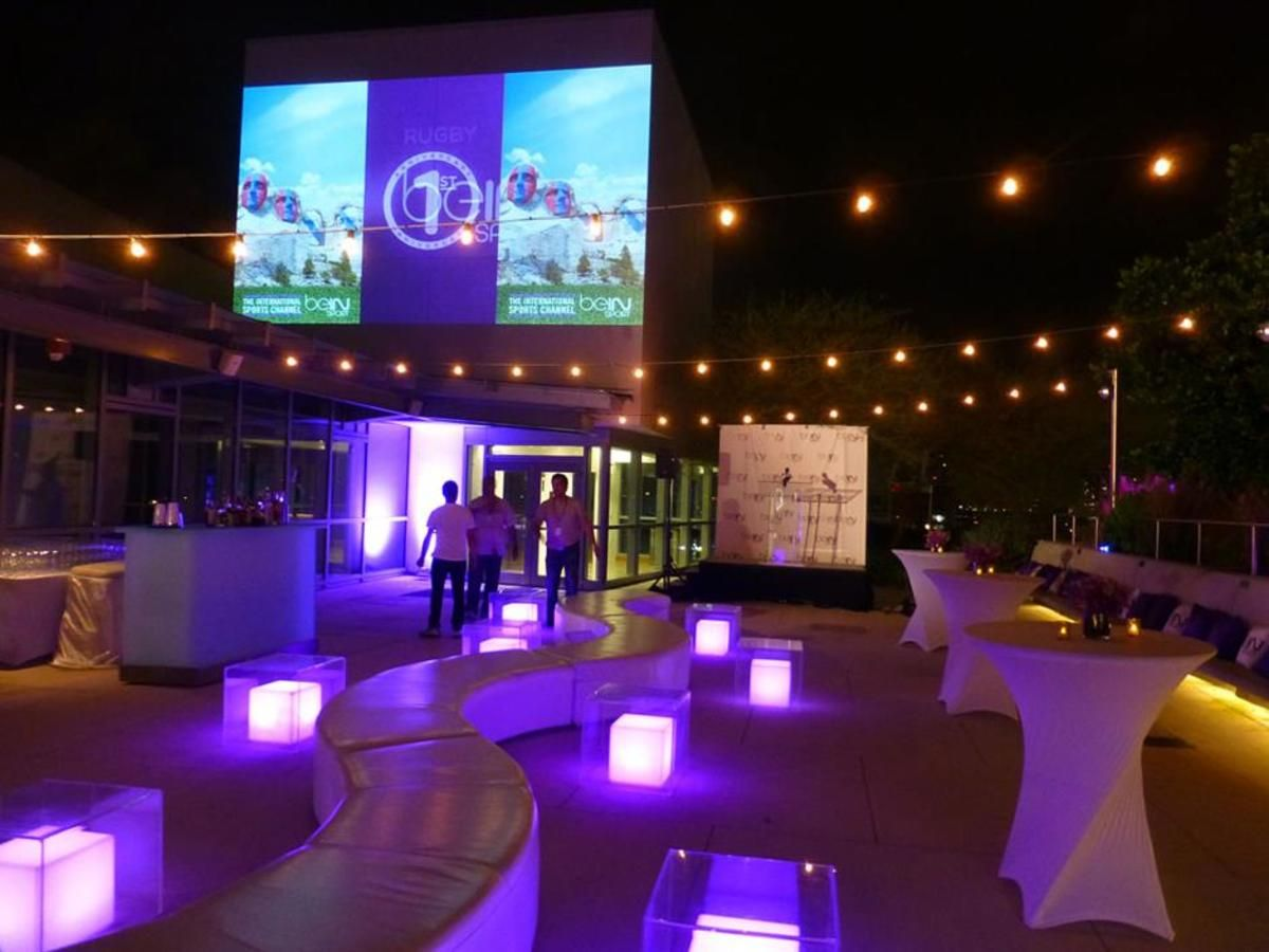 Rooftop Garden Featuring Accent Lighting Stage and Video Projection