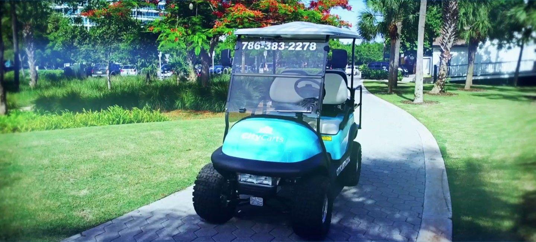 Bleu golf cart