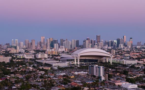View of Marlins Park at dusk