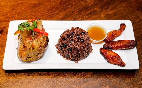 Cuban food and black beans and rice