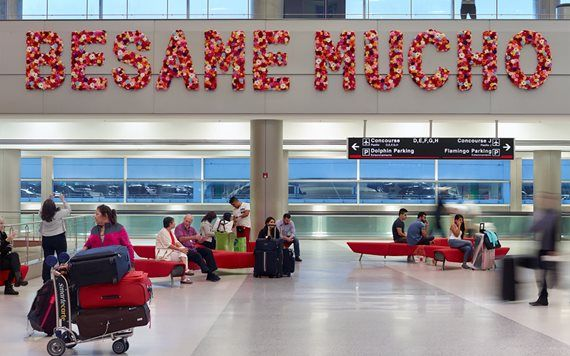 Besame Mucho artwork in Miami international airport