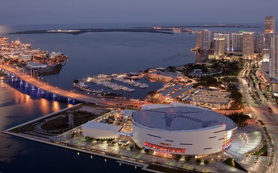 aerial view of AmericanAirlines Arena