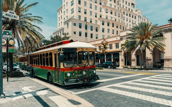 trolley on street in Coral Gables