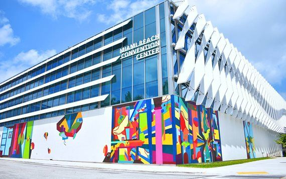 colorful artwork on the walls of Miami Beach Convention Center