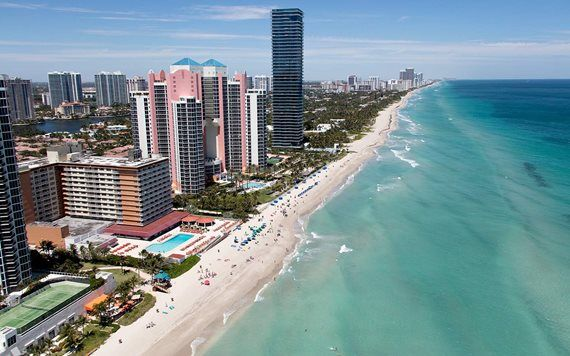 aerial of sunny isles beach and ocean
