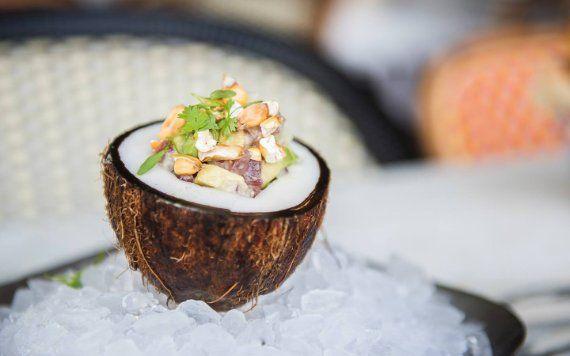 food inside coconut on ice