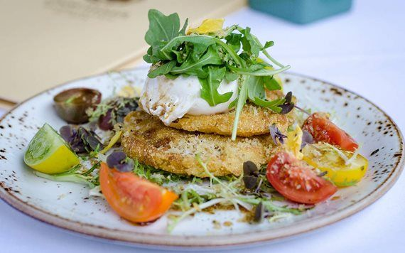 Fried Green Tomatoes with Burrata at Essencia Restaurant
