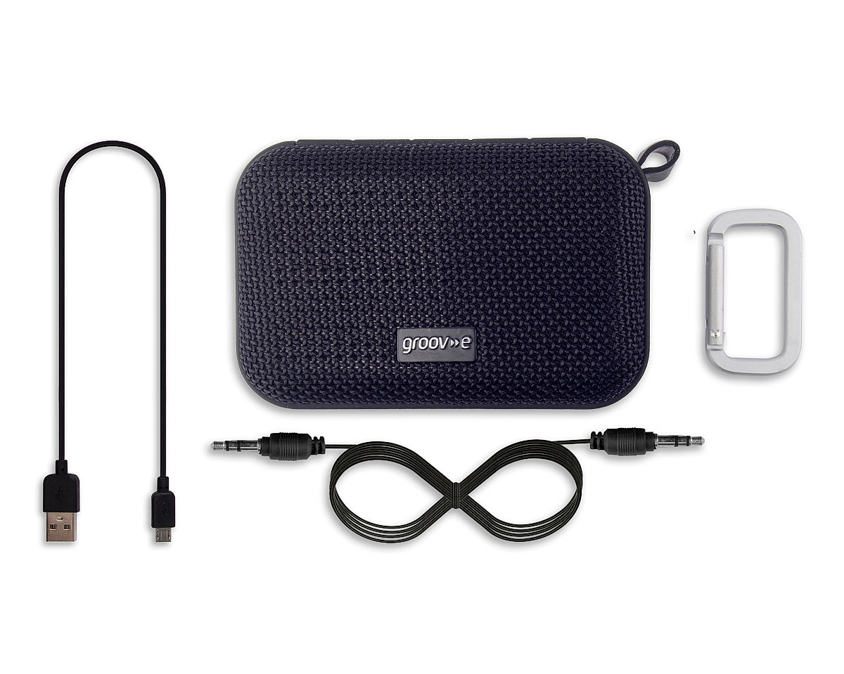 Box Contents • Portable Speaker • Charging Cable • Audio Cable • Carabiner