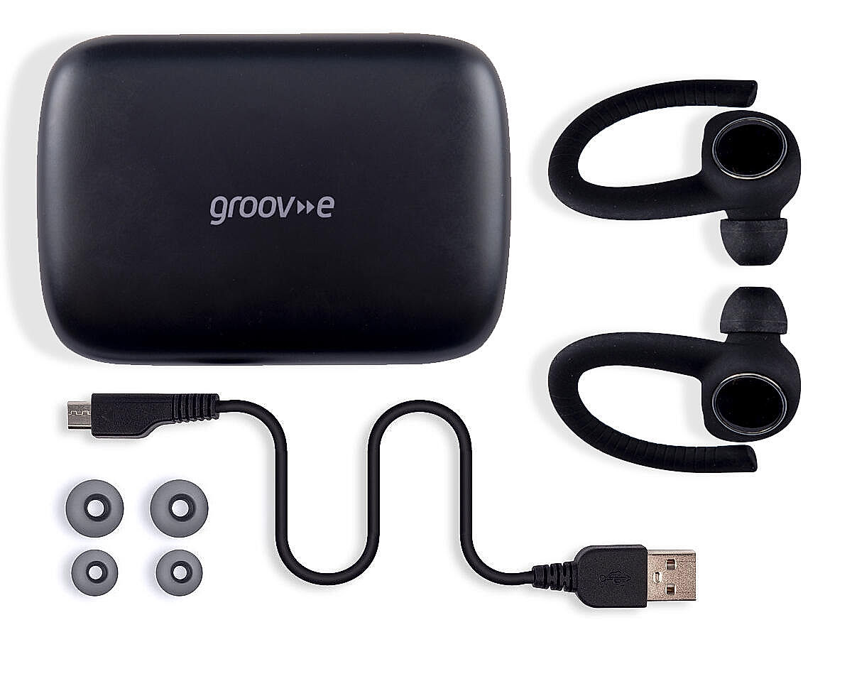 BOX CONTENTS • GV-TW06 • Micro USB Cable • Spare Earbuds • Charging Case • User Manual