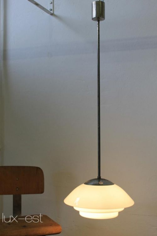 'MITHRAS' Pendellampe Bauhaus Design Opal VERKAUFT