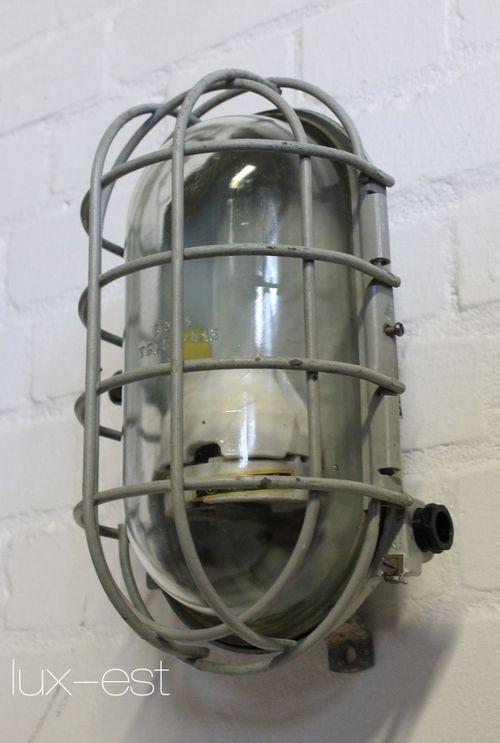 'STREHLA L ORIGINAL I' Fabrik Industrie Lampe Bunkerlampe Vintage
