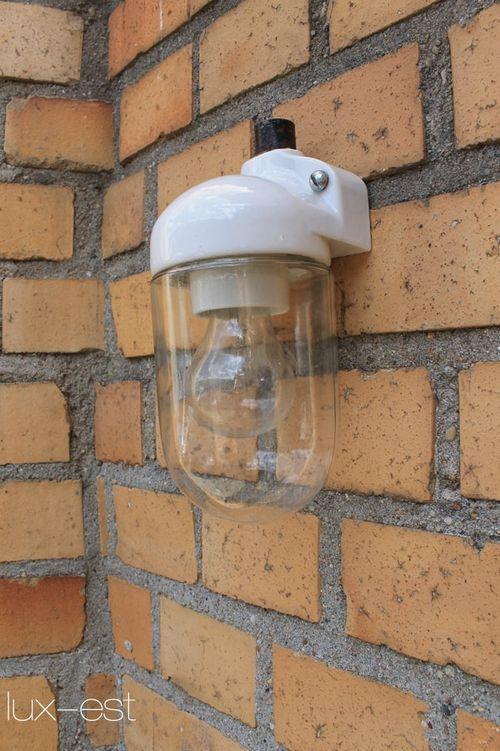 'SIEMENS S 90°' Bauhaus Design Lampe Glas Kolben Porzellan