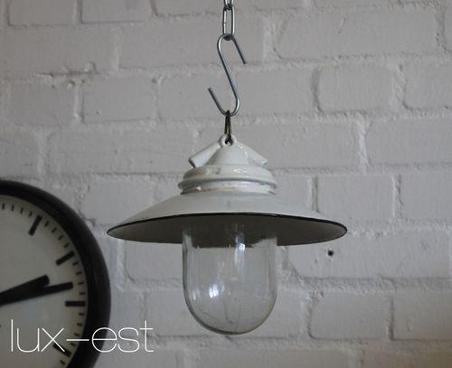 'VISTA S I' Bauhaus Design Lampe Emaille Glas Porzellan Industrie