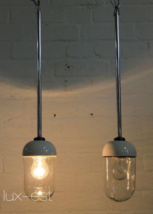 'VISTA M BLANK PENDEL' Bauhaus Design Fabrik Lampe VERKAUFT