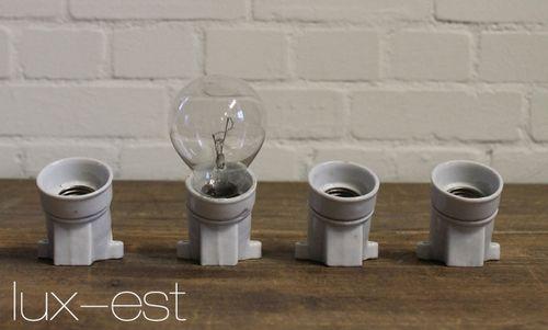 'PORZA WALL' Lampe Fassung Porzellan AP Bauhaus Design