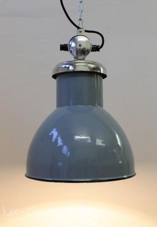 'AZUR' Fabriklampe Industriedesign Taubenblau VERKAUFT / SOLD